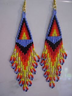 Beautiful Native American  Beaded Flame Earrings.  via Etsy.