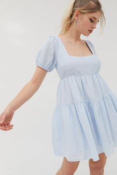 Shop UO Mallorca Tiered Babydoll Dress at Urban Outfitters today. Flowy Dress Casual, Casual Dresses, Short Dresses, Flowy Dresses, Babydoll Dress Outfit, Dress Outfits, White Babydoll Dress, Smock Dress, Diy Dress