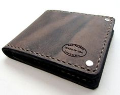 Mens Leather Wallet Black Leather Bifold with от SanFilippoLeather