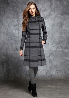 CINZIA ROCCA DUE Wool Blend High Neck Button Front Coat
