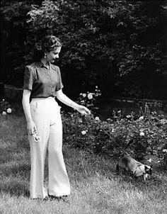 vivien leigh | Tumblr Vivien taking her cat for a walk.