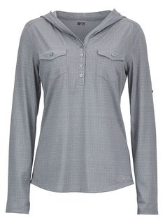Sport an easy-going look in the Laura. The Henley front button style, roll-up sleeve feature and double chest pockets add a dash of modern flair. This stretch polyester top wicks and dries quickly, and offers light sun protection; forward shoulder seams increase wearable comfort.Soft, Breathable, Lightweight Heathered Performance Knit FabricUltraviolet Protection Factor (UPF) 20Quick-Drying and WickingNylon for DurabilityStretch for Increased MobilityForward Shoulder SeamSleeve Rol