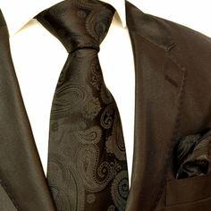 Paul Malone Silk Tie Set - Black Paisleys (Stylegasm!)