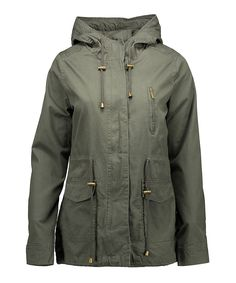 Keep cozy in this comfy cotton anorak jacket that features drawstrings at the waist, hood and hem for a customized fit.Size M: 28'' long from high point of shoulder to hemZip and snap closure with storm flapThree pocketsDrawstring at waist, hem and hoodShell: 100% cottonLining: 100% polyesterMachine wash; tumble dryImported