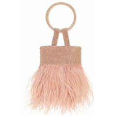 Sachin  Babi Lulu Bag  Pink Feather (£375) ❤ liked on Polyvore featuring bags, handbags, pink, feather purses, holiday handbags, fringe handbags, holiday purse and red fringe purse