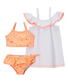 Take a look at this Baby Buns Coral & Gold Elephant Bikini & Cover-Up - Infant, Toddler & Girls today!