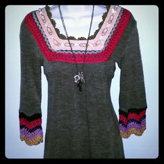 Boho Sweater Tunic/Dress Really cute tunic/dress. Heather brown w/ gold color, purple, navy, red, and black crochet detail. Can be worn as a dress or a tunic with tights and  boots! Chan Tops Tunics