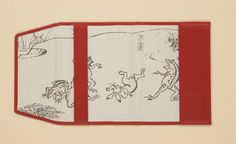 革製ブックカバー〈鳥獣戯画〉猿追い・赤色 | 京都 便利堂