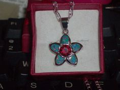 LOOK!!!! A GORGEOUS STERLING SILVER RUBY AND RAINBOW FIRE OPAL NECKLACE