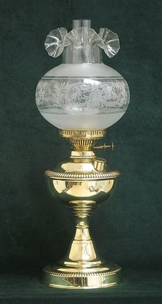 Duplex Brass Oil Lamp with Clear Etched Glass 1890