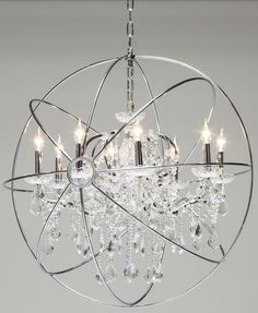 Globe Crystal Shiny Stainless Chandelier 32""
