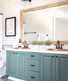 Kitchen Master Bathroom Design Ideas - Kitchen Remodeling Ideas - Bathroom Remodeling Ideas - Master Bathroom Interior Planning Ideas - Kitchen Home Design Ideas - DIY, Modern Farmhouse, Traditional, Cabinets, Dream Kitchens Diy Bathroom Remodel, Bathroom Renos, Bathroom Renovations, Home Remodeling, Cheap Bathroom Makeover, Bathroom Sink Decor, Diy Bathroom Ideas, Shiplap Bathroom, Blue Bathroom Vanity