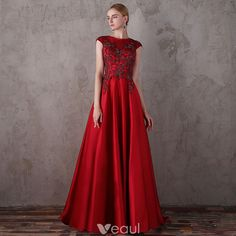 Elegant Red Evening Dresses 2018 A-Line / Princess Scoop Neck Sleeveless Beading Sequins Sweep Train Ruffle Backless Formal Dresses