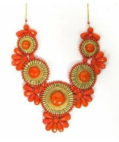 Orange big statement necklace
