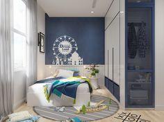 Kinderzimmer für Junge mit blauer Akzentwand und Wandschrift