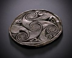 Trial design on a lead disc, with incised spirals, Pictish, from the Brough of Birsay, Orkney, 700 - 900 AD