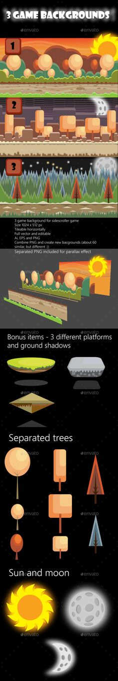 Buy 3 Game Backgrounds by AurJas on GraphicRiver. 3 game background for side scroller games or other projects. - Background in Adobe . Jeopardy Game Template, Game Background, Game Assets, Free Games, Game Design, Game Art, Adobe Illustrator, Color Change, Platform