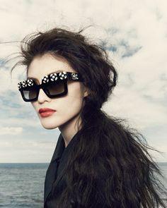 Prada Flower Square Sunglasses, Black/White - Neiman Marcus