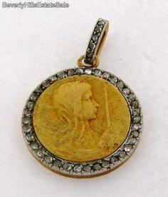 Antique Art Nouveau 18K Gold Medallion with Cherubs Diamonds Pendant | eBay