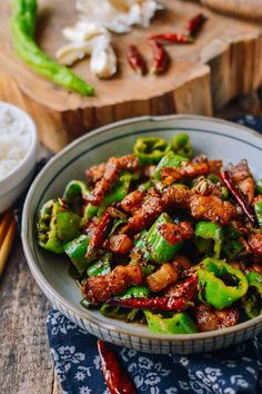 Sichuan Three Pepper Pork Belly Stir-fry - The Woks of Life Chinese Pork Belly Recipe, Pork Belly Recipes, Pork Stir Fry, Stir Fry Pork Belly, Fried Pork Belly, Asian Cooking, Chinese Food, Chinese Desserts, Asian Recipes