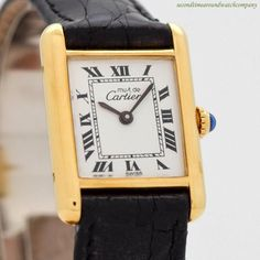 0dfb9ea3a05b 1980 s Cartier Must De Tank Ladies Size 18k Yellow Gold Plated Watch