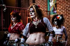 Troupe Salamat Day of the Dead ( Dia de los Muertos) bellydance makeup and costume. At Prescott Arizona Ghost Talk Clark White Photography