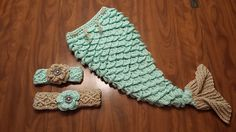 "This is a version ""2.0"" of my original Mermaid Tail design. This pattern was designed for the baby sizes, please let me know if you'd like me to invest in designing larger sizes! The intent was primarily for baby photoshoots, but as a larger blanket anyone could be a mermaid if they wanted!"
