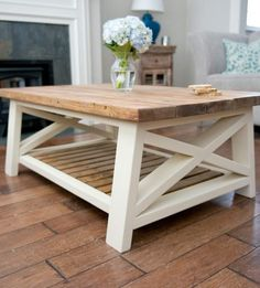 angled rustic x coffee table love the wood top and cream colored base
