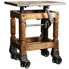 1stdibs   Vintage Industrial, Adjustable Wood & Cast Iron Turtle Table