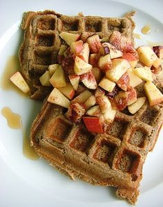 An Opera Singer in the Kitchen: Buckwheat and Oats Waffles with Apples, Figs, and Maple Syrup
