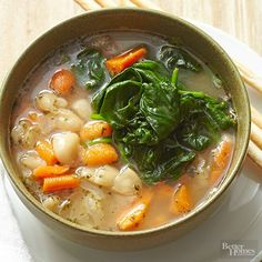 Baby carrots, onions, beans, and baby spinach add heartiness to a soup that takes just 20 minutes to make./