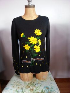 80s Vintage Black He Loves Me Not Sweater with by Thriftiquities http://etsy.me/11rK09d  via @Etsy #Black #Love #80s #Vintage #Fashion