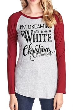 c2265edc46d Crew Neck Raglan Sleeve Letter Print Loose Womens Christmas Tee Shirts in  Red.  womensfashion