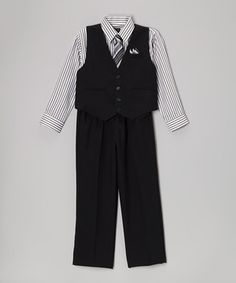 Junior gentlemen will look stylishly smooth in this formal ensemble. A fine collection of pieces for layering ensures a complete look that's sure to impress. The button-front vest is easy to remove when little guys want to dance or play.