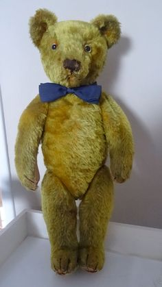 """rare old antique vintage jointed teddy bear 15"""""""