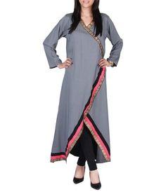 Grey Cotton Angarkha Tunic