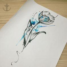 Draw by Felipe Bernardes, Brazilian Tattoo Artist | watercolor Tulip. #tulip…