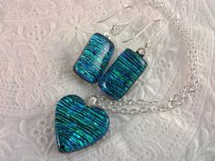 Fused Glass Jewelry Dichroic Heart Pendant Earrings set by AngelasArtGlass