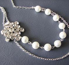 Wedding Jewelry Pearl Necklace Vintage Bridal Jewelry Rhinestone Necklace. $49.00, via Etsy.