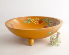 Vintage Wooden Scandinavian Bowl Rosemaling by TheHeirloomShoppe