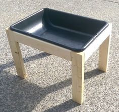 This plan is to build a simple and inexpensive sensory table which can be used with water, sand, rice, or other material to give a sensory experience to a toddler or young child.