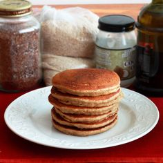 These Mega Healthy Pancakes are whole grain and include quinoa, olive and coconut oil, flax seeds, wheat germ, oat bran, etc, and they taste great!