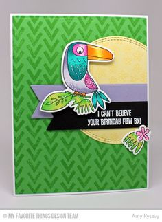Birds of Paradise stamp set and Die-namics, Blissful Blooms stamp set and Die-namics, Wonky Chevron Background, Double Stitched Circle STAX Die-namics, Fishtail Flag Layers STAX Die-namics, Fishtail Flag STAX Die-namics - Amy Rysavy #mftstamps