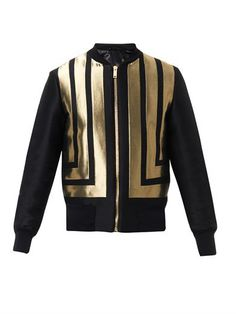 Alexander McQueen Stripe-jacquard bomber jacket