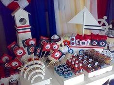 Festa Marinheiro / Nautical Navy Little Man Birthday, Boy Birthday Parties, Baby Birthday, Sailor Party, Party Food Themes, Nautical Party, Baby Boy Shower, Baby Shower Decorations, Geronimo
