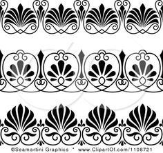 Clipart Black And Whtie Art Deco Border Design Elements 2 - Royalty Free Vector Illustration by Seamartini Graphics
