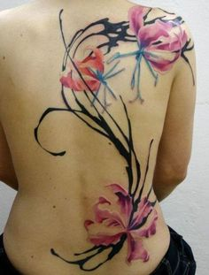 Flower watercolor tattoo - 65  Examples of Watercolor Tattoo  <3 <3