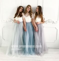 lace bridesmaids Cheap Two Piece Round Neck Long Light Blue Grey Silver Purple Lilac Tulle With Top Lace Bridesmaid Dresses, Check out this great offer I got! Two Piece Bridesmaid Dresses, Tulle Skirt Bridesmaid, Grey Bridesmaids, Tulle Wedding Skirt, Hippie Bridesmaid Dresses, Alternative Bridesmaid Dresses, Bridesmaid Separates, Junior Bridesmaids, Bridesmaid Outfit