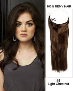 "18"" #8 Light Chestnut Straight Flip In Human Hair Extensions 100% Remy Hair"