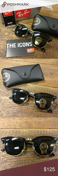 Ray-Ban Clubmaster RB 3016 Black Sunglasses NEW Ray-Ban Clubmaster RB 3016 Black Sunglasses NEW Brand new with all original packaging.  Guaranteed authentic.  A timeless, classic style! Ray-Ban Accessories Sunglasses